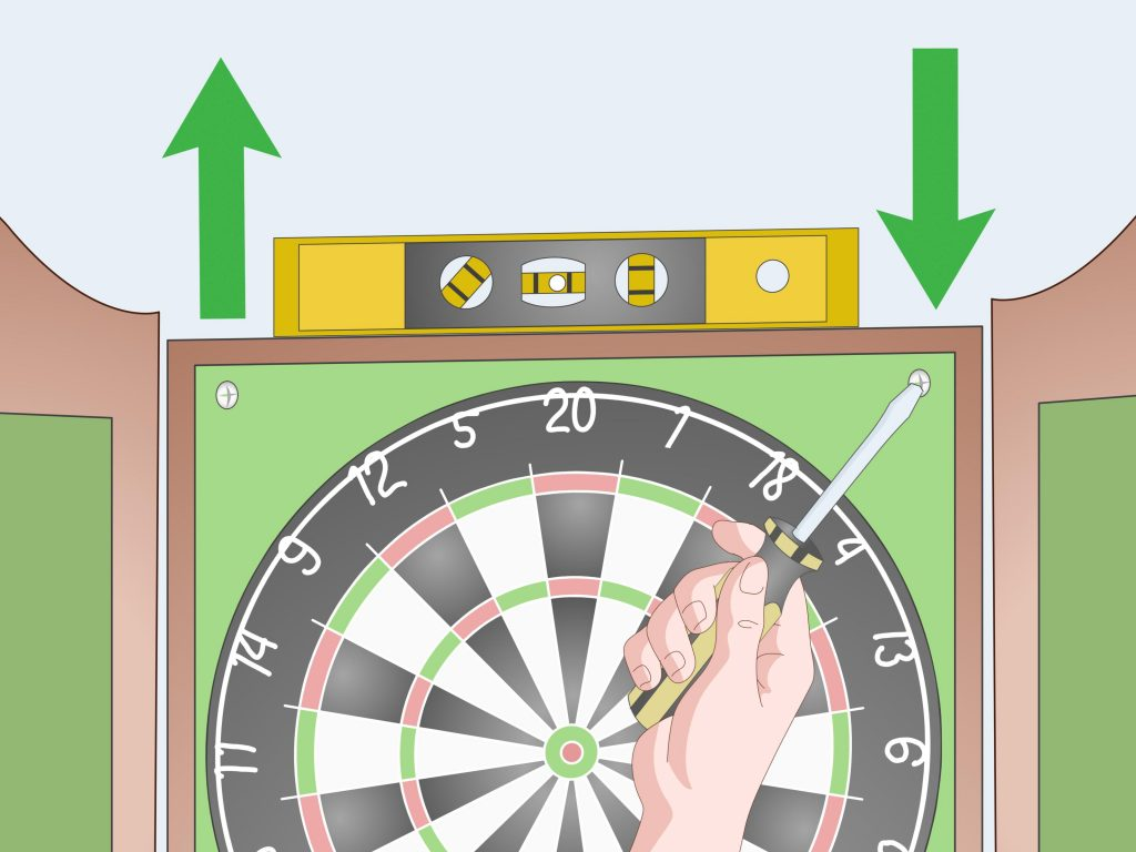 how to hang dartboard cabinet
